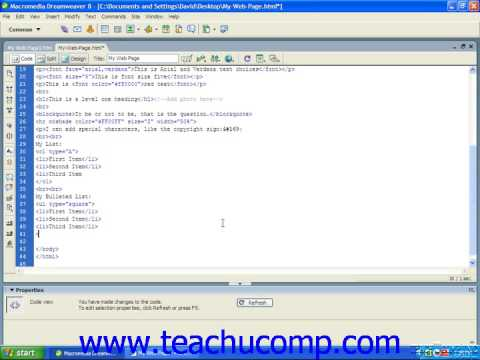 HTML Tutorial Bulleted Unordered Lists Training Lesson 6.2
