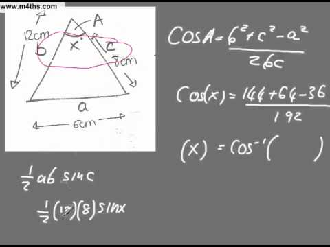 Finding the area of a triangle from the Cosine rule GCSE higher maths