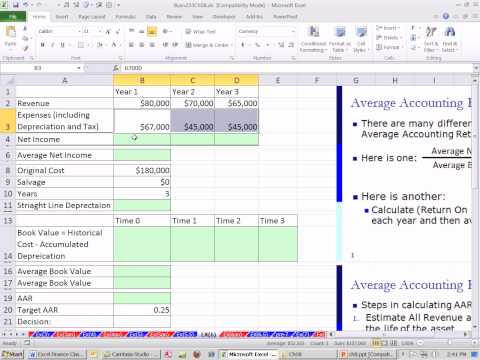 Excel Finance Class 72: Investment Criteria: Average Accounting Return