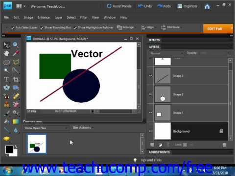 Photoshop Elements 9.0 Tutorial Raster vs. Vector Adobe Training Lesson 12.1