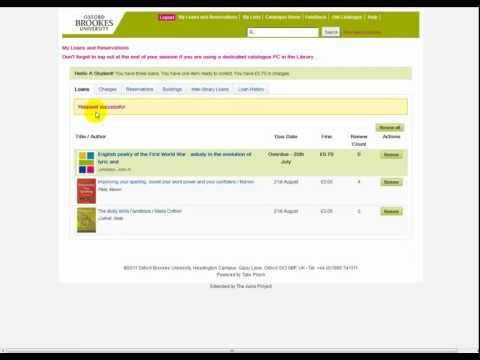 Oxford Brookes Library Tutorial: Using my loans and reservations