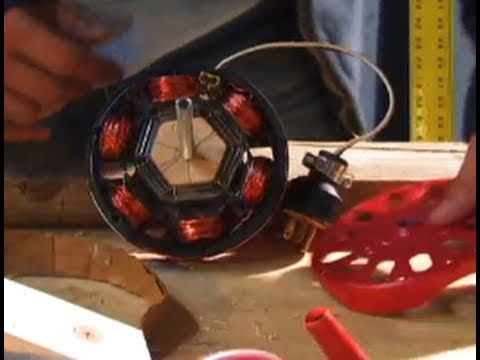 INDUCTION MOTOR DIY hack Alternator 40 watt low 800 RPM Neodymium Motor Generator Conversion