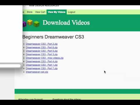 How to download my Dreamweaver Videos