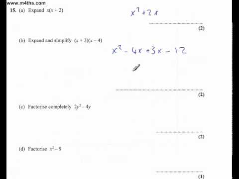 (Q15) Edexcel Linear Higher (non calc) 6th June 2011 (quick worked answer only)