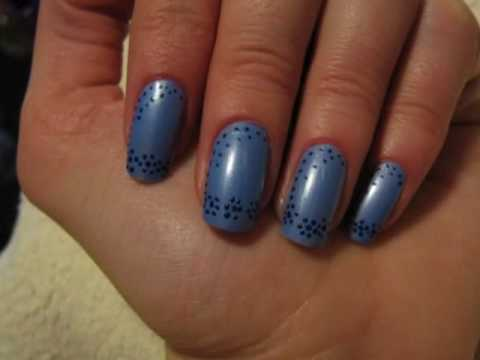 Blue nails with small blue flowers