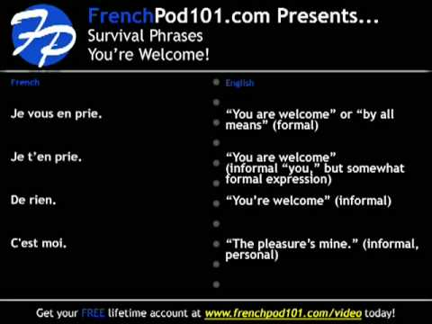 Learn French - Survival phrases #2, how to say You're Welcome.