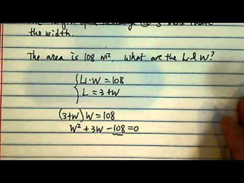 factoring problems!!? the length of a rectangle is 3 more than the width. the area