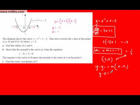 (v) Core 1 Differentiation (Harder C1 exam question 3 tangent and normal simultaneous equation)
