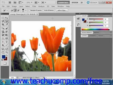 Photoshop CS5 Tutorial Selection Basics Adobe Training Lesson 7.1