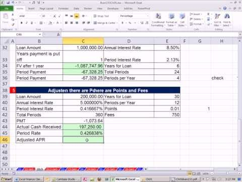 Excel Finance Class 36: PMT Function 7 Examples & Adjusted APR with Points and RATE function