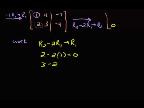 System of Equations - Reducing a 2 x 3 Matrix using Gauss Jordan Method