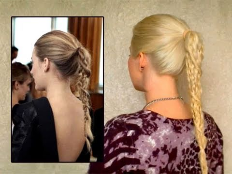 Serena Blake Lively hair tutorial Easy braid ponytail summer hairstyles for long rapunzel hair look