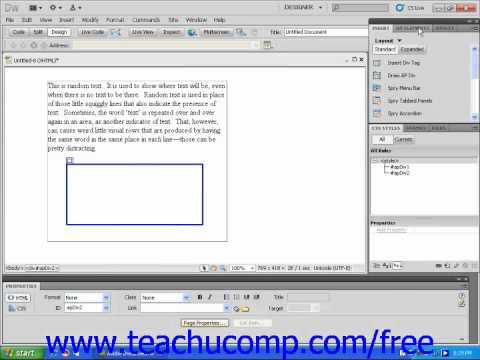 Dreamweaver CS5 Tutorial Nested AP Divs Adobe Training Lesson 9.6