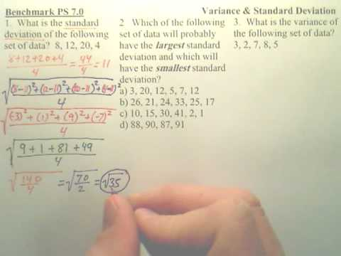 Benchmark PS 7 - Variance and Standard Deviation - Algebra 2
