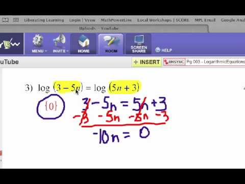 How to Solve Logarithmic Equations: Problem Set 1