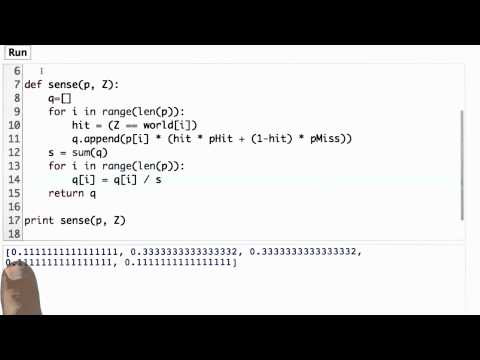 Normalized Sense Function Solution - CS373 Unit 1 - Udacity