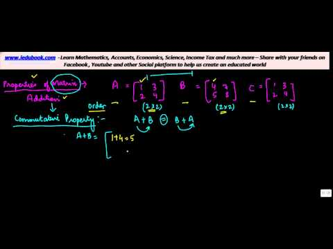 879. Properties of Matrix for Addition - Commutative, Associative and Additive Inverse.mp4