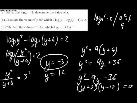 Past Exam Logarithm C2 question 4