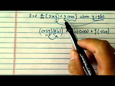 how to find derivative using chain rule?? (Find d/dx (sin y + y cos x) where y = g(x))