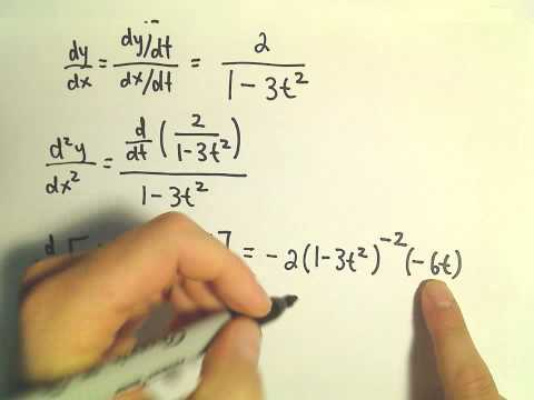 Derivatives of Parametric Equations, Another Example #2 - Second Derivative
