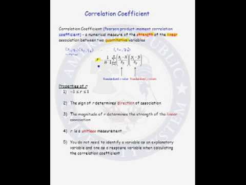 Correl Coeff Definition and Properties of Regression