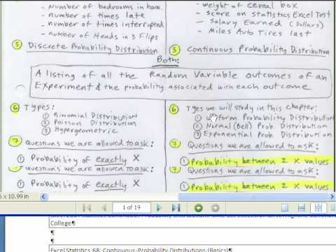 Excel Statistics 66: Continuous Probability Distributions (Normal, Uniform, Exponential)