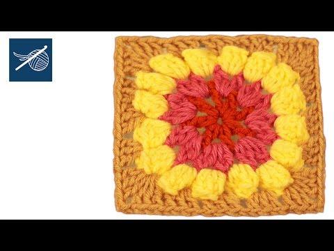 Popcorn Flower Crochet Granny Square Left Hand Square