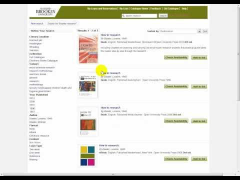 "Oxford Brookes Library Catalogue Tutorial- ""How to find a book"""