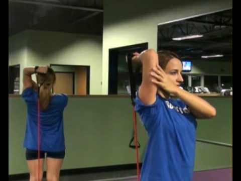Tricep Extension Overhead Single Arm  Bands Front : BeYourTrainer.com