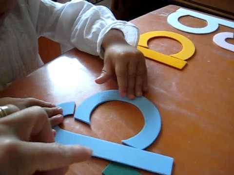 Toddler - Reading-Writing: Create own letters with straight and curved lines. Colors and foam paper.