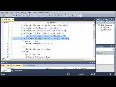 Visual Basic Tutorial - 16 - Conditional Operators