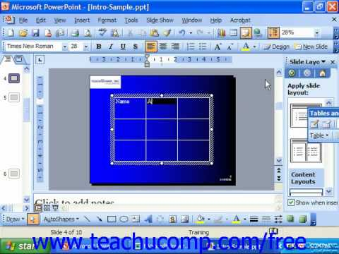 PowerPoint 2003 Tutorial Inserting Tables Microsoft Training Lesson 28.3