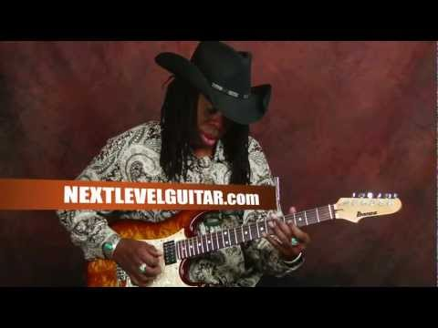 Larry Mitchell lead guitar lesson learn soloing using major scale all over neck Ibanez electric