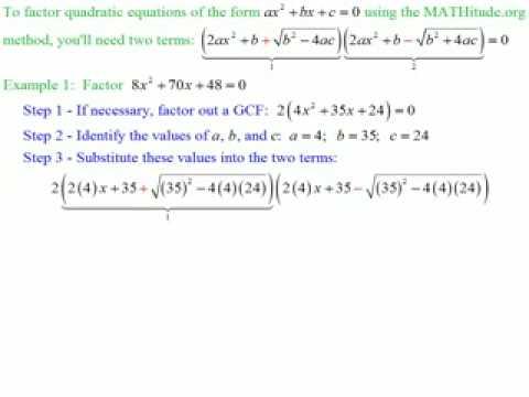 Factoring Quadratic Trinomials  No Guessing