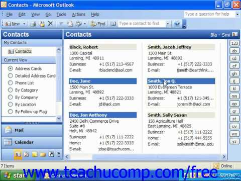 Outlook 2003 Tutorial Printing Contacts Microsoft Training Lesson 2.10