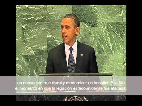 Obama Address at U.N. : Chris Stevens Was a Friend to All Libyans with Spanish Subtitles