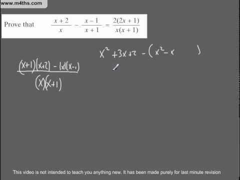 (Q83) A Star GCSE Revision Questions Algebraic fractions