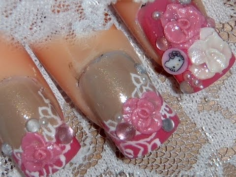 *Rosy Laces, W/ Hello Kitty* 3D Acrylic Nail Art Design Tutorial
