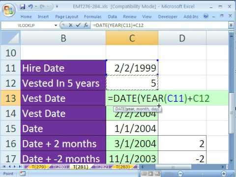 Excel Magic Trick # 281: Formula For Vest Date