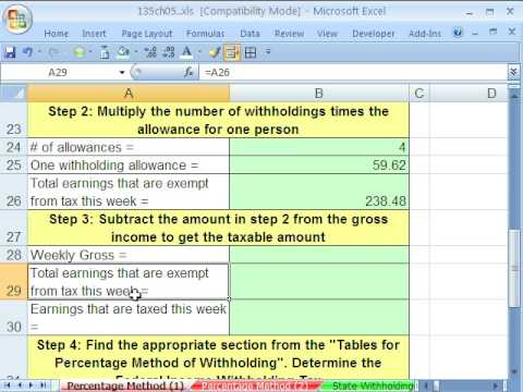 Excel Busn Math 42: Federal Income Tax Payroll Deduction
