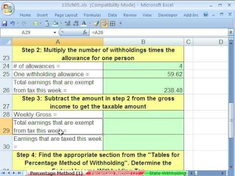 Excel Busn Math 42: Federal Income Tax Payroll Deduction
