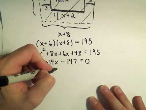 Solving a Geometry Word Problem by Using Quadratic Equations - Example 1