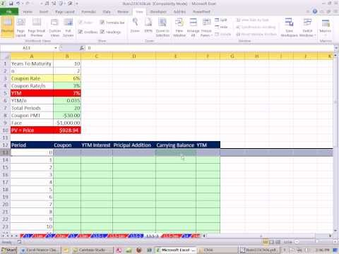 Excel Finance Class 52: Bond Discount Or Premium Amortization Table.