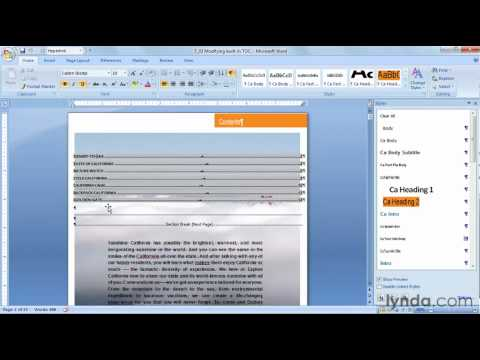How to use TOC styles in Microsoft Word   lynda.com tutorial