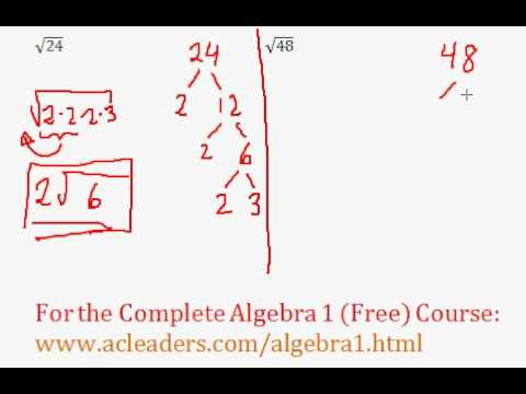 (Algebra 1) Radicals - Simplifying Square Roots #2