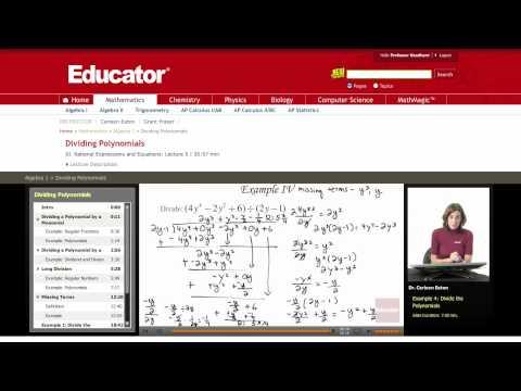 Algebra: Dividing Polynomials
