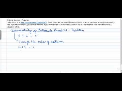 13. D  - Mathematics   Class VIII   Properties of Rational No  Commutativity of Addition