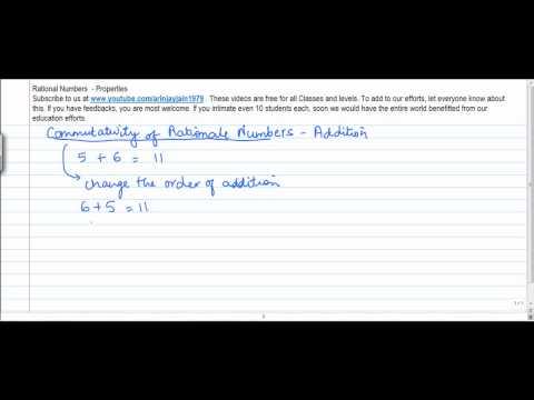 13. D  - Mathematics   Class VIII   Properties of Rational No  Commutativity of Addition