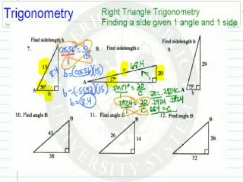 Finding a Side Using 1 Angle and 1 side with Trig Functions