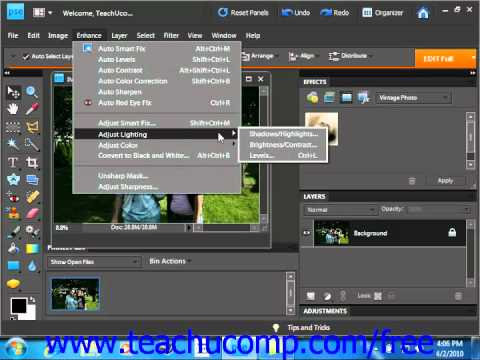 Photoshop Elements 9.0 Tutorial Adjusting Brightness/Contrast Adobe Training Lesson 14.4